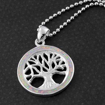 Silver Tree of Life with Synthetic Opal Necklace