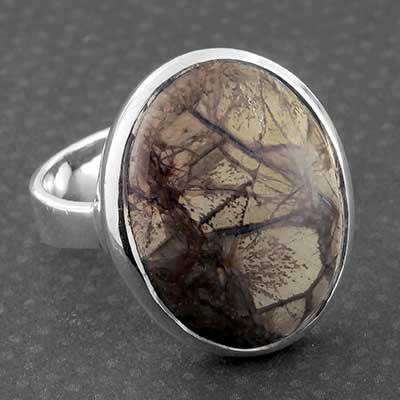 Silver and Mushroom Rhyolite Ring
