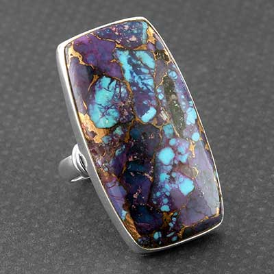 Silver and Purple Bronze Boulder Ring