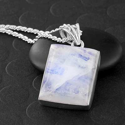 Rainbow Moonstone and Silver Necklace