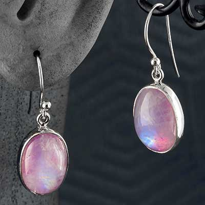 Silver and Pink Moonstone Earrings