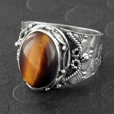 Silver and Ornate Yellow Tiger Eye Ring