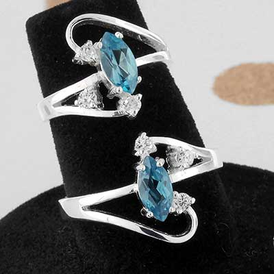 Silver and Blue Topaz Burst Ring
