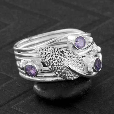 Silver Leaf and Amethyst Gemstone Ring