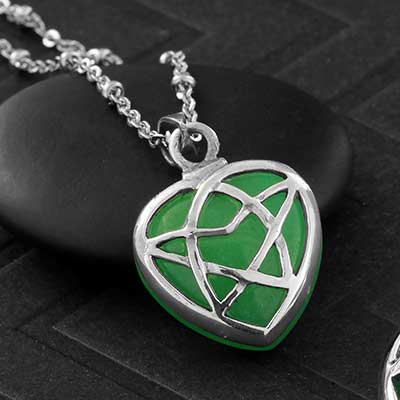 Silver and Green Aventurine Celtic Heart Necklace