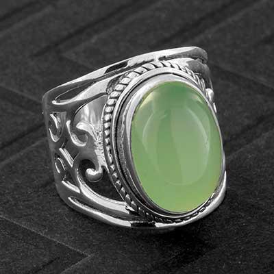 Silver and Ornate Prehnite Ring