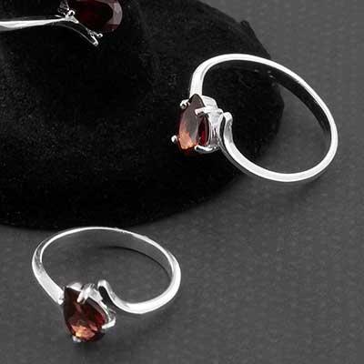 Silver and Garnet Gemstone Teardrop Ring