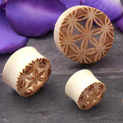 Crocodile Wood Seed of Life Plugs