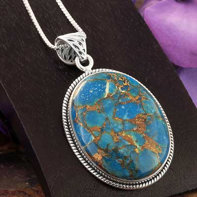 Blue Bronze Boulder and Silver Necklace