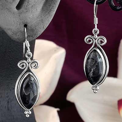 Silver and Zinc Obsidian Earrings