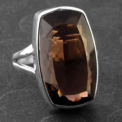Silver and Faceted Smokey Quartz Ring