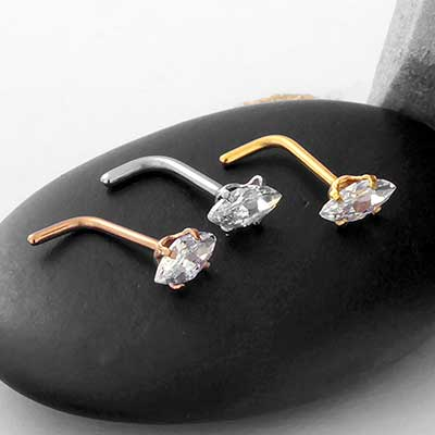 Prong Set Marquise Gem Straight Nosescrew