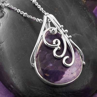 Ornate Tiffany Stone and Silver Necklace