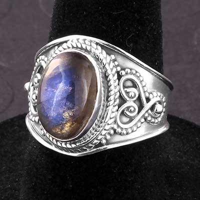 Silver and Labradorite Adornment Ring