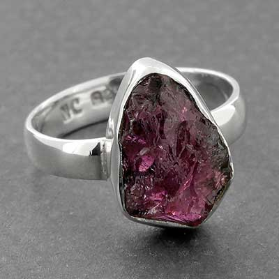 Silver and Rough Garnet Ring