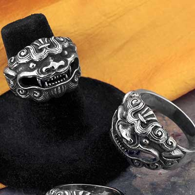 Steel Guardian Lion Ring