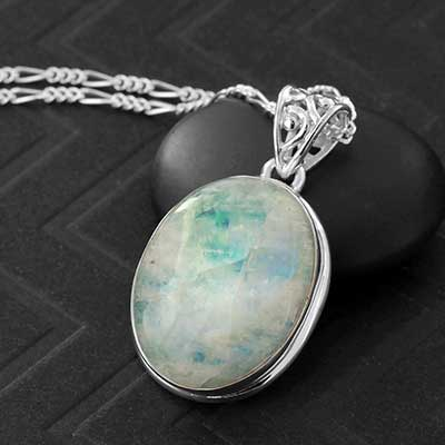 Green Moonstone and Silver Necklace