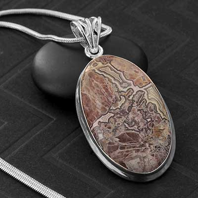 Crazy Lace Agate and Silver Necklace