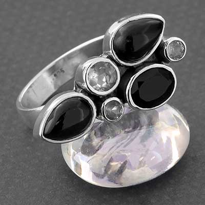 Silver and Black Onyx Cluster Ring