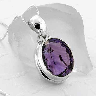Amethyst Gemstone and Silver Necklace