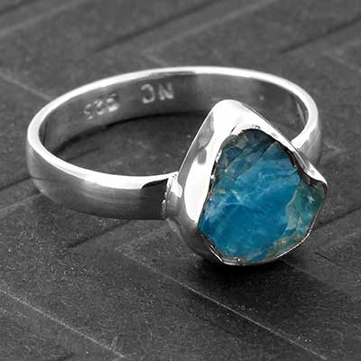 Silver and Rough Blue Apatite Ring