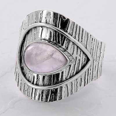 Silver and Rose Quartz Sheild Ring