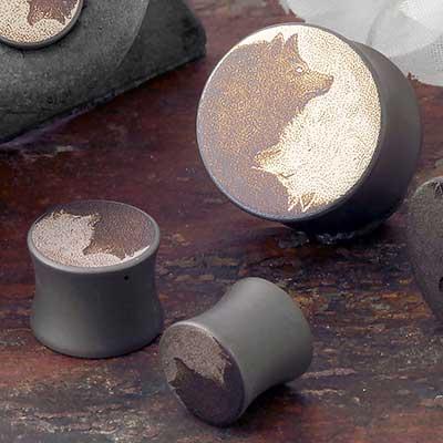 Titanium Yin Yang Wolf Canister Plug