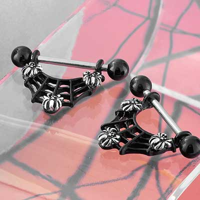 Black Spiderweb Nipple Stirrup