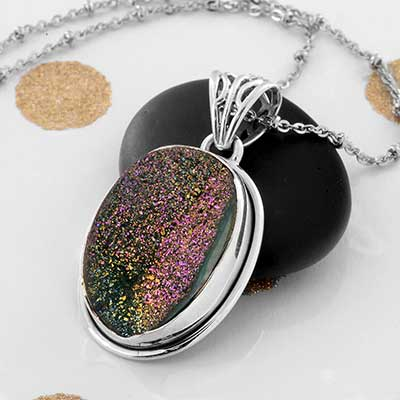 Titanium Plated Druzy and Silver Necklace