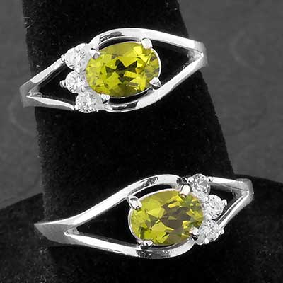 Silver and Peridot Gemstone Cluster Ring