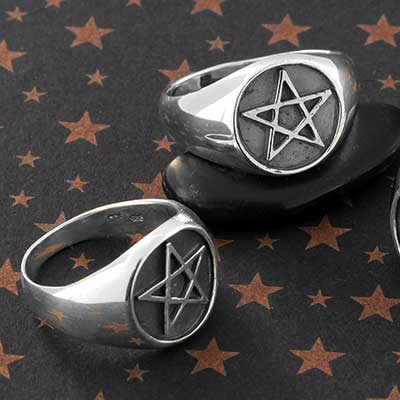 Silver Pentagram Circle Ring