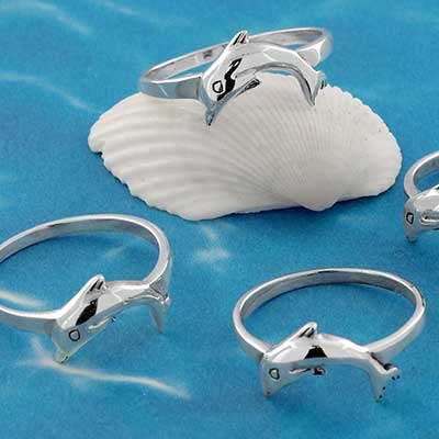 Silver Jumping Dolphin Ring