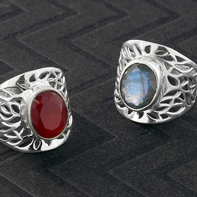 Silver and Gemstone Blossom Ring
