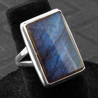 Silver and Rectangle Labradorite Ring