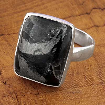 Silver and Zinc Obsidian Ring