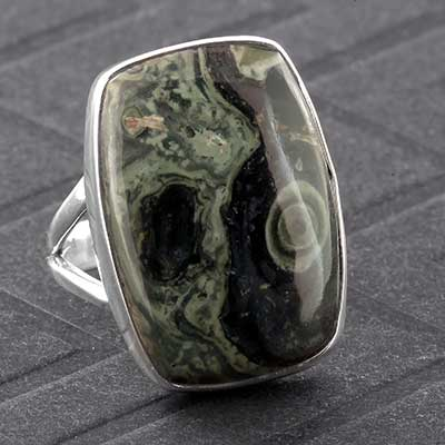 Silver and Green Eye Jasper Ring