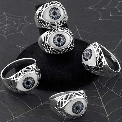 Silver and Ornate Glass Eyeball Ring