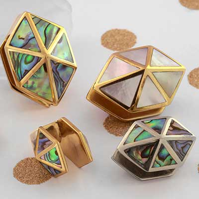 Brass and Shell Hexagon Weights