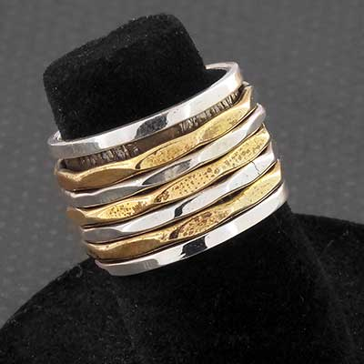 Silver and Brass Faceted Band Meditation Ring
