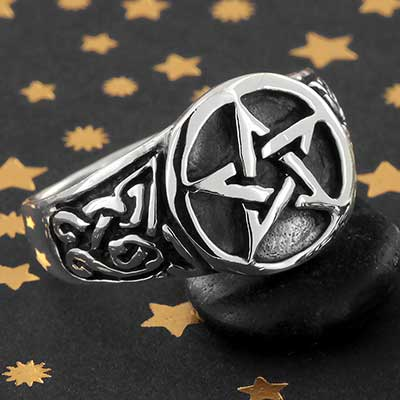 Silver Adorned Pentagram Ring