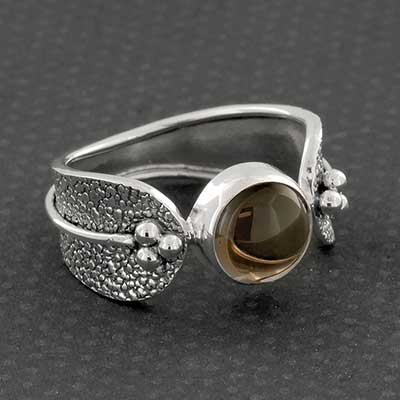 Distressed Silver and Smokey Quartz Ring