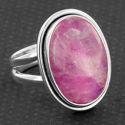 Silver and Pink Moonstone Ring