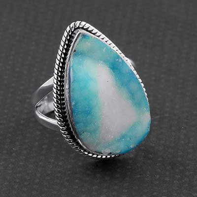 Silver and Blue Druzy Ring