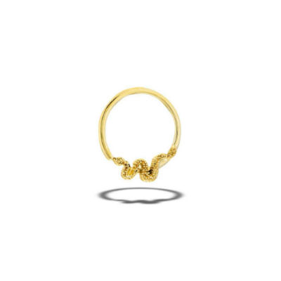 PRE-ORDER 14k Gold Snake Fixed Bead Ring
