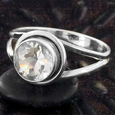 Silver and Quartz Gemstone Ring