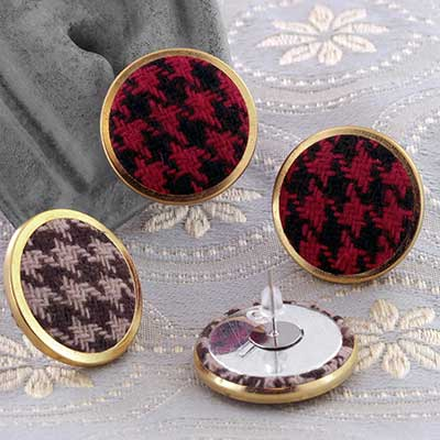 Dog Tooth Print Button Earrings