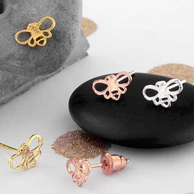 Bee Silhouette Stud Earrings