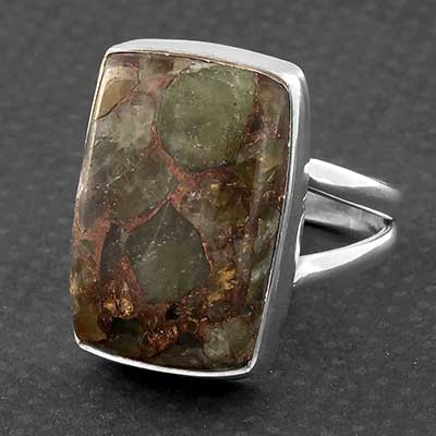 Silver and Peridot Copper Ring