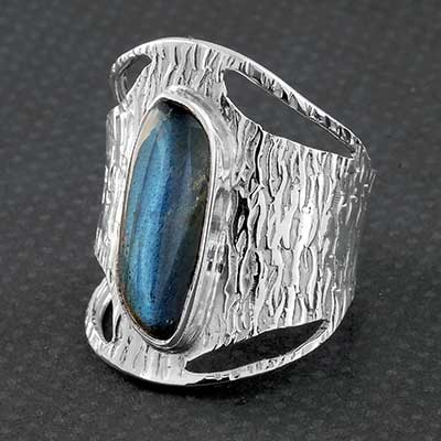 Textured Silver and Labradorite Ring