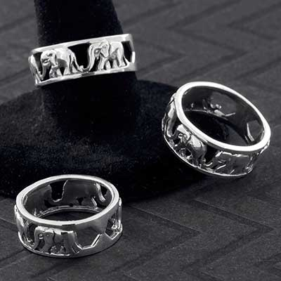 Silver Marching Elephants Ring